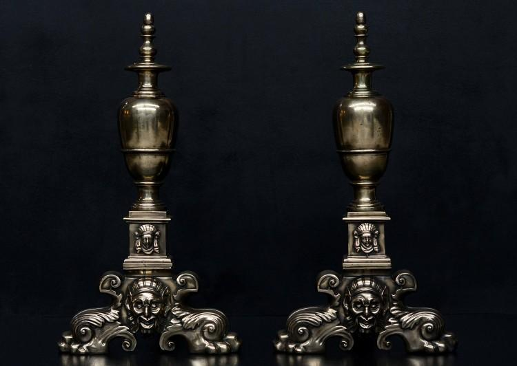 A large pair of 19th century brass firedogs