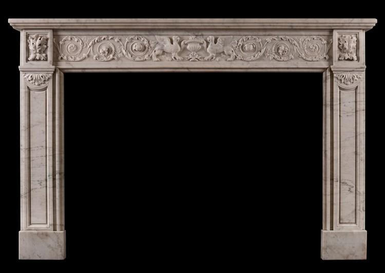 A 19th century French marble fireplace