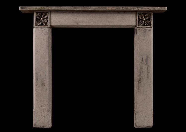 An English stone fireplace