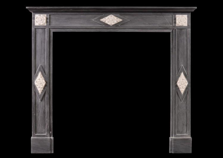 A French Directoire fireplace in grey Bardiglio marble