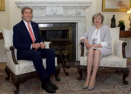 U.S. Secretary of State John Kerry sits with British Prime Minister Theresa May in the White Room, No. 10 Downing Street 19 July 19, 2016. Photo: US Dept of State