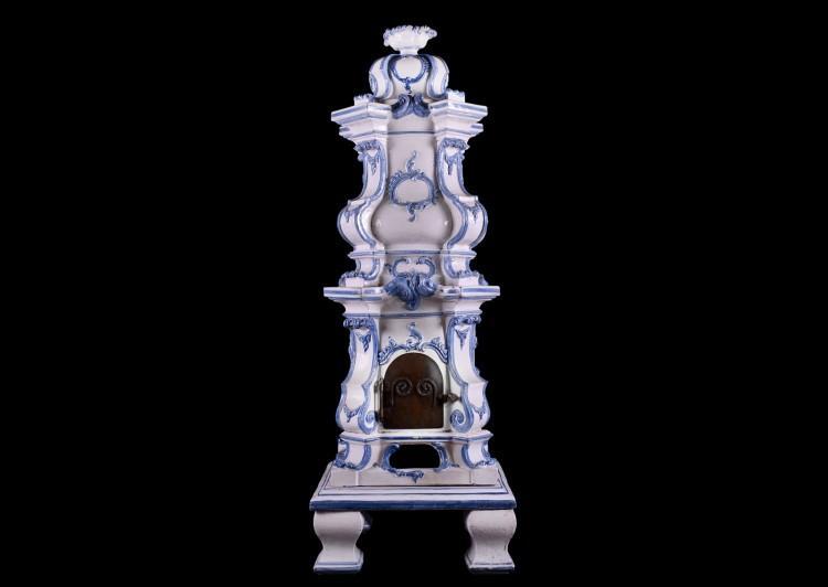 An ornate ceramic Kachelofen stove