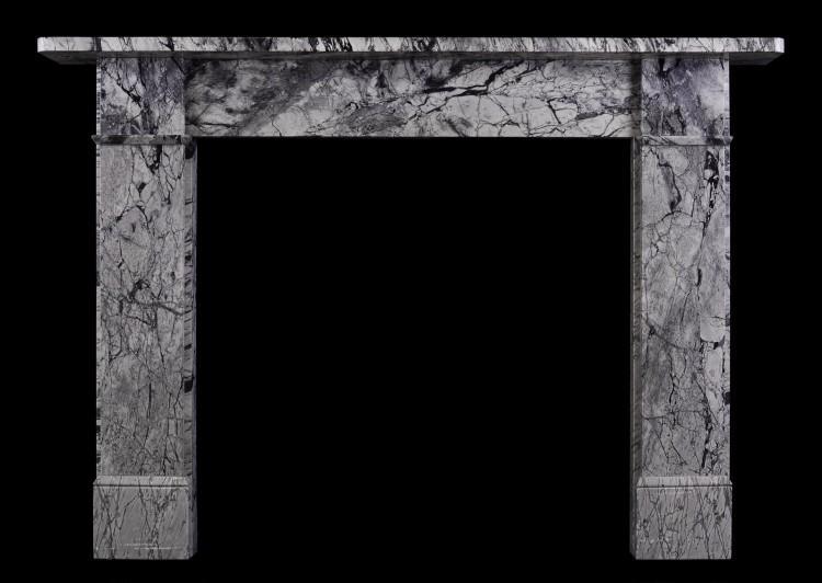 A Victorian fireplace in Bardiglio Forito marble