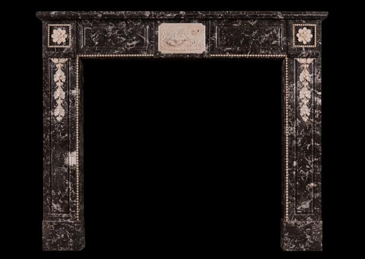 A French Louis XVI St Anne's marble fireplace