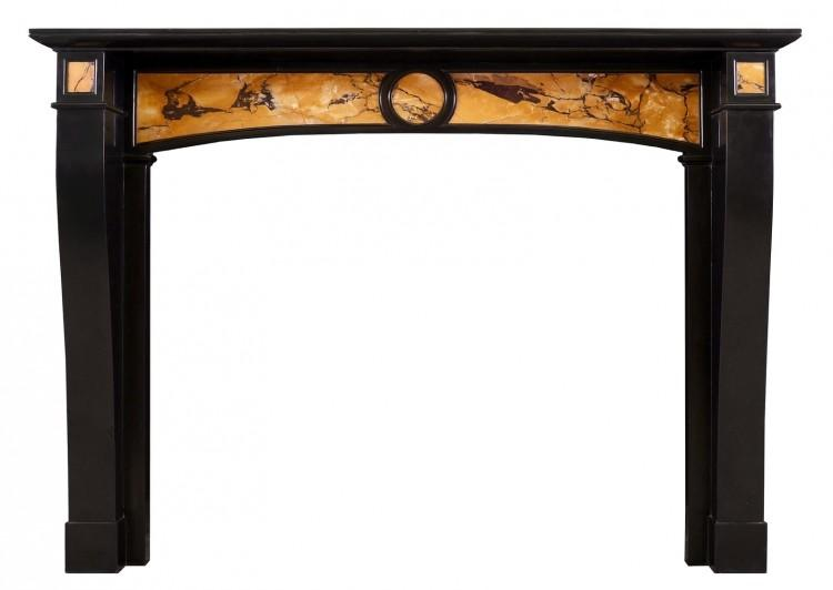 A Belgian Black and Italian Siena antique marble fireplace