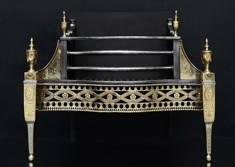 A very fine brass and steel firegrate