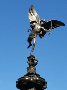 The statue of Eros in Piccadilly Circus