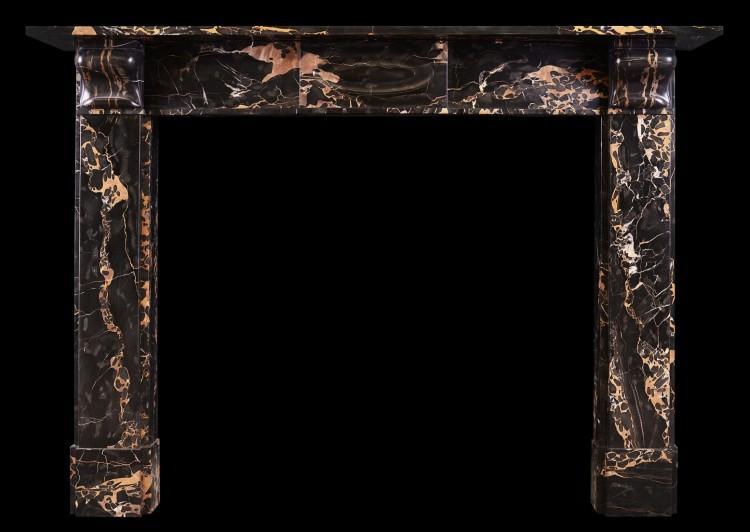 An Art Deco fireplace in Italian Portoro marble