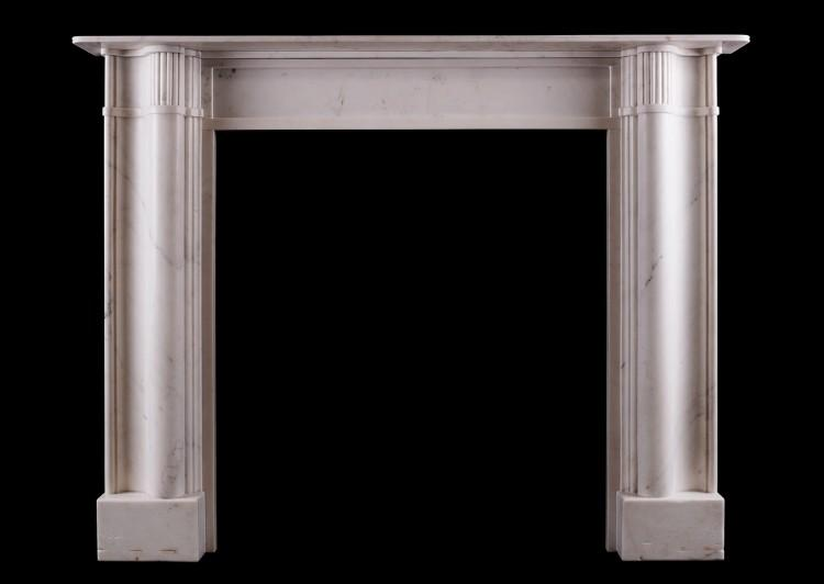 An English architectural Statuary marble fireplace
