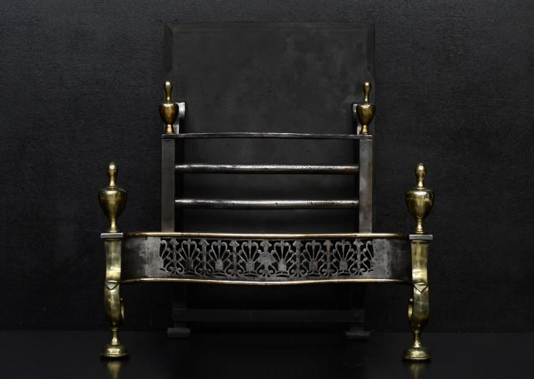 A brass and steel Georgian style firegrate
