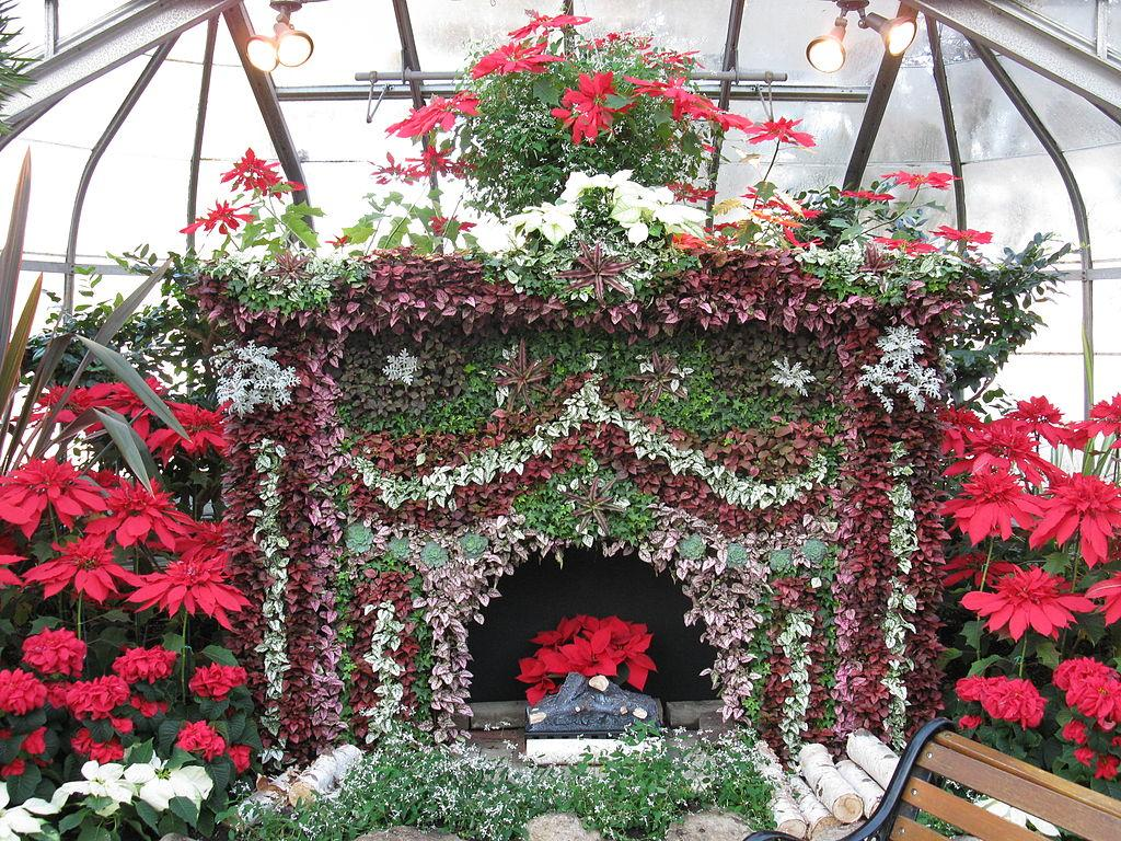 Floral fireplace in Centennial Park Conservatory