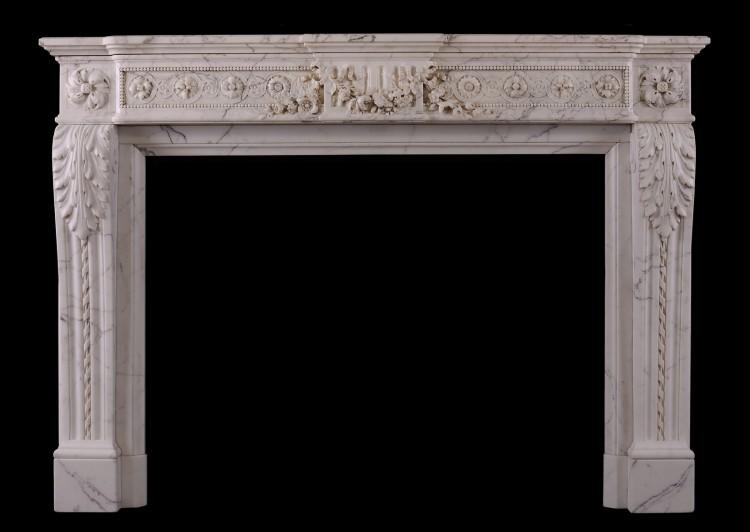 A veined Statuario French marble chimneypiece