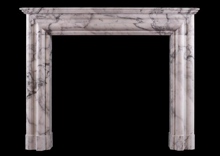 An architectural fireplace in Italian Arabescato marble