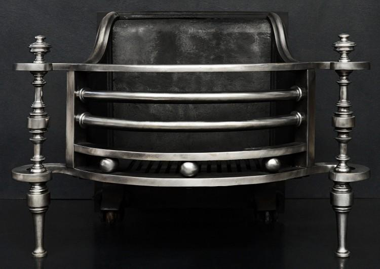 An unusual shaped steel firebasket