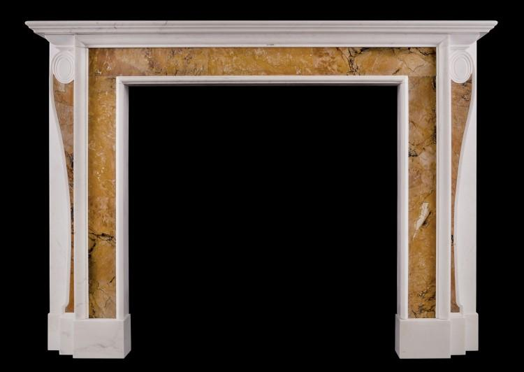 A Georgian style fireplace with inlaid Sienna marble