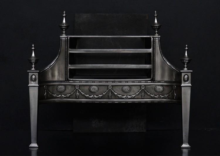 A late Georgian style steel fire grate