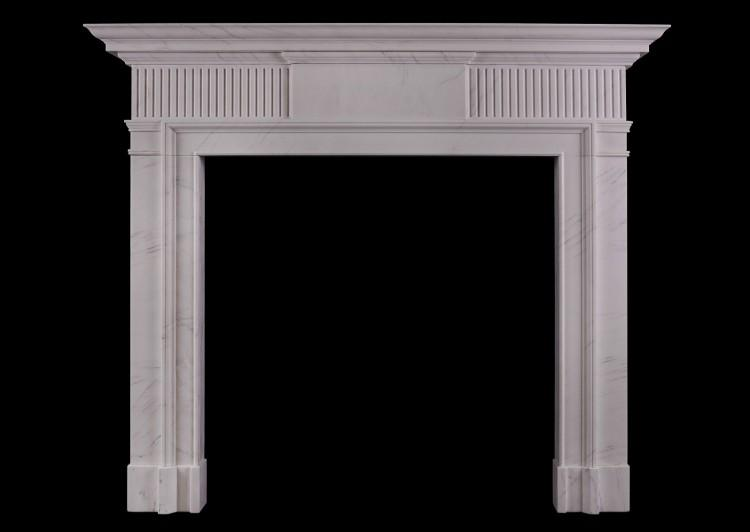 A Neo-Classical white marble fireplace